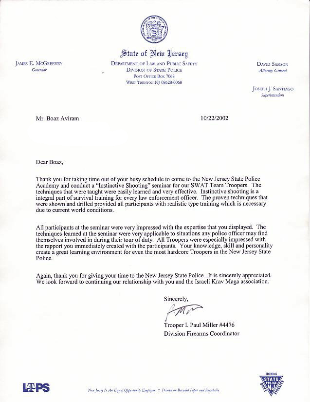 letter of appreciation from the new jersey state police
